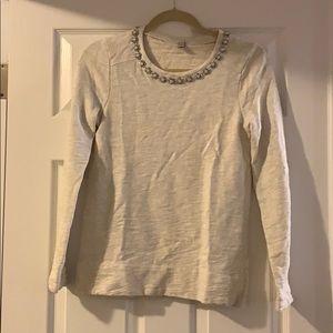 J Crew XS shirt with rhinestone cream